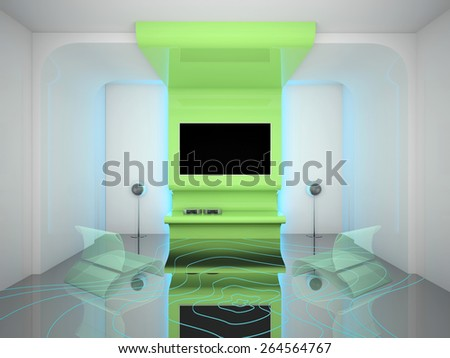 Super-modern interior living room with TV 3D rendering - stock photo
