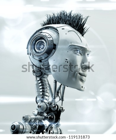 Super robotic model with grass hair style. 3d render / Punk bot - stock photo