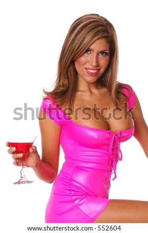 Super sexy business girl in hot pink mini dress with a martini - stock photo