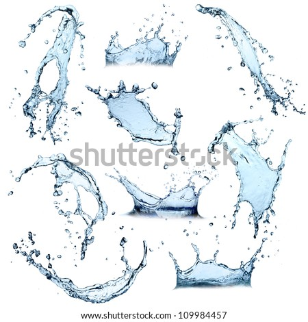 Super size Water splashes collection over white background - stock photo