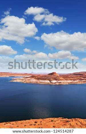 Superb huge and beautiful Lake Powell in the red desert of Utah and Arizona - stock photo