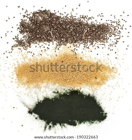 superfoods heap pile  close up top view surface  isolated on white background - stock photo