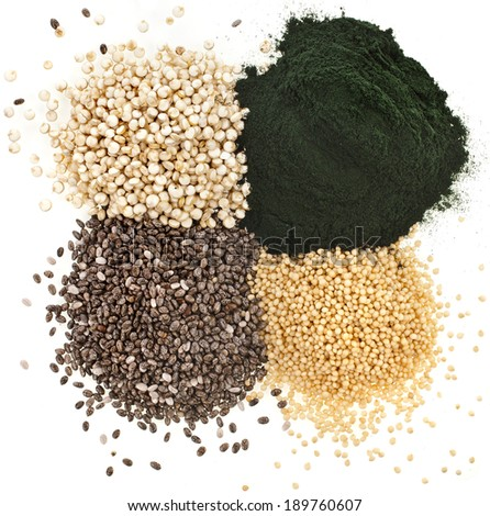 superfoods heap pile collection close up surface top view isolated - stock photo
