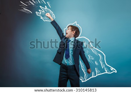 superhero  boy raised his hands superpower Batman businessman flying behind a cloak photo studio teenager - stock photo