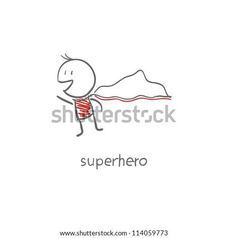 Superhero flying - stock photo
