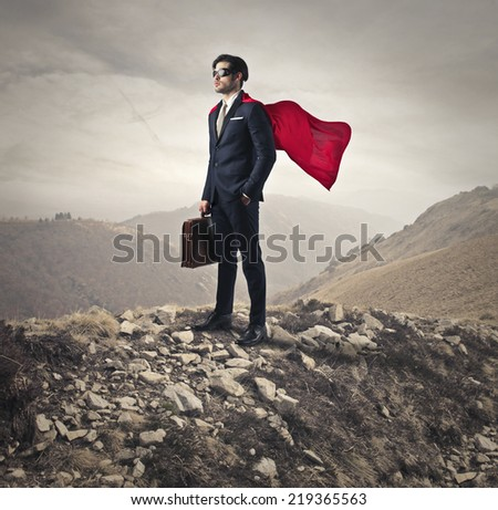 Superhero going to work  - stock photo