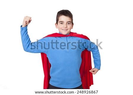 superhero isolated on white background - stock photo