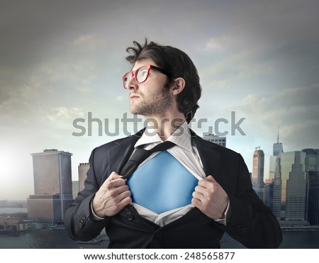 Superhero protecting the city  - stock photo