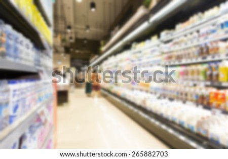 Supermarket in blurry - stock photo