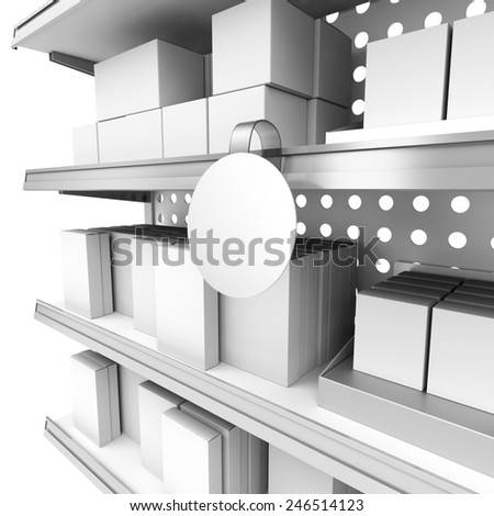 supermarket shelf in perspective with blank round wobbler - stock photo
