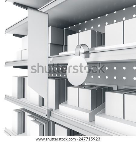 supermarket shelf in perspective with flags or shelf-stopper and wobbler - stock photo