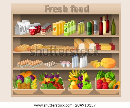 Supermarket shelves with food drinks fruits vegetables bread milk and grocery  illustration - stock photo
