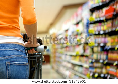 Supermarket Shopper - stock photo