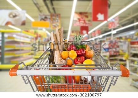 Supermarket, Shopping, Shopping Cart. - stock photo