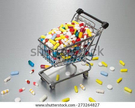 Supermarket trolley full of pills - stock photo