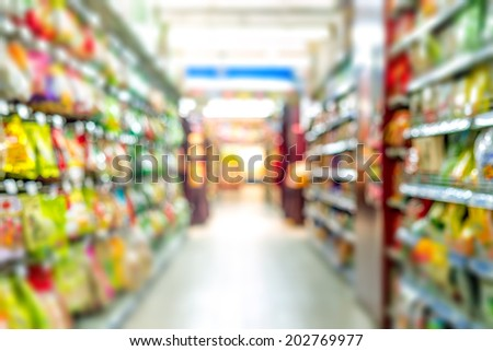 Supermarkets, lens blur effect. - stock photo