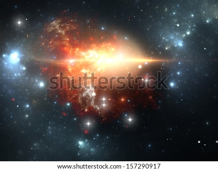Supernova explosion in the nebula (All art elements made by me) - stock photo
