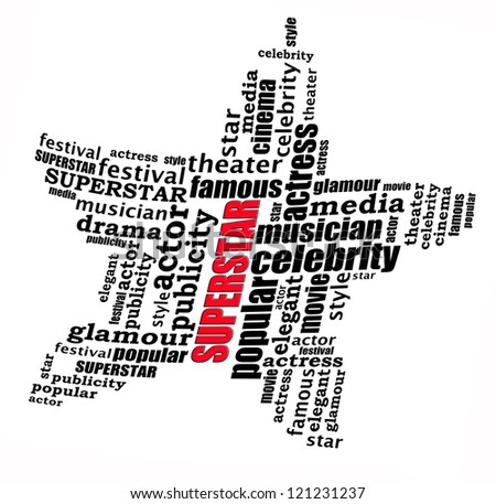 Superstar info-text graphics and arrangement concept on white background (word cloud) - stock photo
