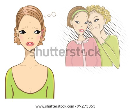 Superstition concept. Red and hot ears. Gossip girls. - stock photo