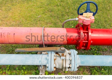 Supervisory main valve for water fire protection system. - stock photo