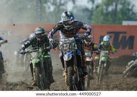 SUPHANBURI - MARCH 06: Brent Van Doninck #172 with Yamaha Motorcycle in competes during the FIM MXGP Motocross Wolrd Championship Grand Prix of Thailand 2016 on March 06, 2016 in Suphanburi, Thailand. - stock photo