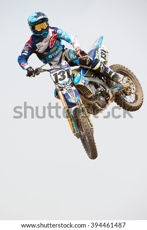 SUPHANBURI-MARCH 05:Chaiyan Romphan with Yamaha in competes during Qualifying Race MXGP class the FIM Motocross Wolrd Championship Grand Prix of Thailand on March 05,2016 in Thailand. - stock photo