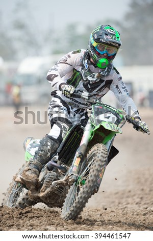 SUPHANBURI-MARCH05:Dylan Ferrandis Team Monster Energy Kawasaki  in competes during Qualifying Race MX2 class the FIM Motocross Wolrd Championship Grand Prix of Thailand on March 05,2016 in Thailand. - stock photo
