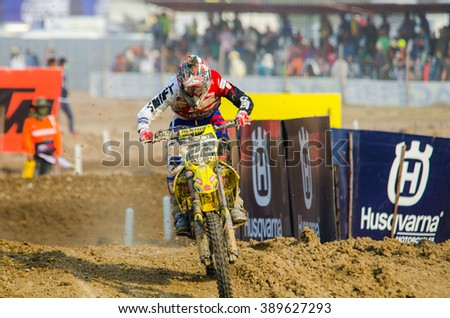 SUPHANBURI - MARCH 06 : Strijbos Kevin #22 with Suzuki Motorcycle in competes during the FIM MXGP Motocross Wolrd Championship Grand Prix of Thailand 2016 on March 06, 2016 in Suphanburi, Thailand. - stock photo