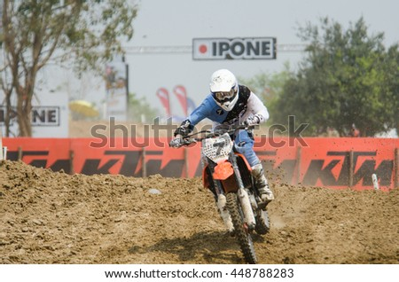 SUPHANBURI - MARCH 06 : Tanei Leok #7 with KTM Motorcycle in competes during the FIM MXGP Motocross Wolrd Championship Grand Prix of Thailand 2016 on March 06, 2016 in Suphanburi, Thailand. - stock photo