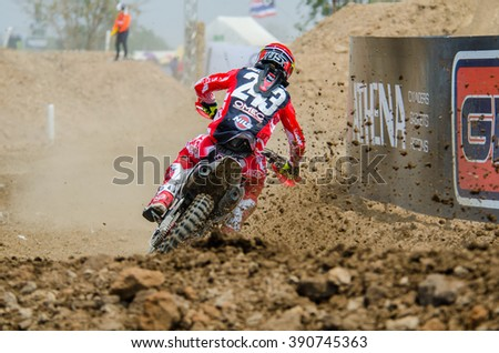 SUPHANBURI - MARCH 06 : Tim Gajser #243 with Honda Motorcycle in competes during the FIM MXGP Motocross Wolrd Championship Grand Prix of Thailand 2016 on March 06, 2016 in Suphanburi, Thailand. - stock photo