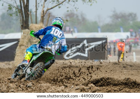 SUPHANBURI - MARCH 06 : Tommy Searle #100 with Kawasaki Motorcycle in competes during the FIM MXGP Motocross Wolrd Championship Grand Prix of Thailand 2016 on March 06, 2016 in Suphanburi, Thailand. - stock photo