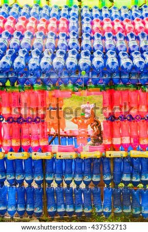 SUPHANBURI  THAILAND â?? OCTOBER 10 : Spirit House made from reused plastic bottles  (Est Brand and Mountain Dew Brand) on October 10, 2015 at Suphanburi  of Thailand. - stock photo