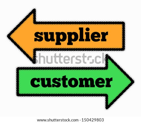 Supplier and customer signs in orange and green arrows concept - stock photo