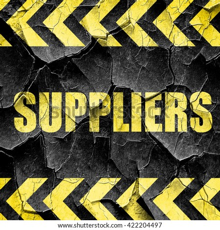 suppliers, black and yellow rough hazard stripes - stock photo
