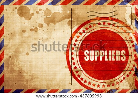 suppliers, red grunge stamp on an airmail background - stock photo