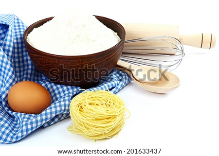 Supplies and ingredients for baking or making pasta , isolated on white background. - stock photo