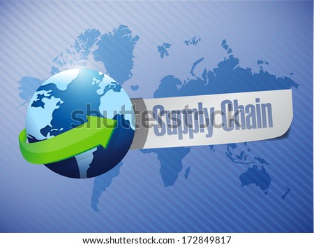 supply chain globe message over a world map illustration design - stock photo