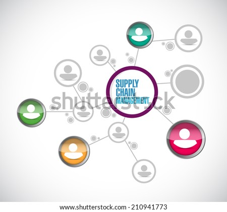supply chain management network connection illustration design over a white background - stock photo