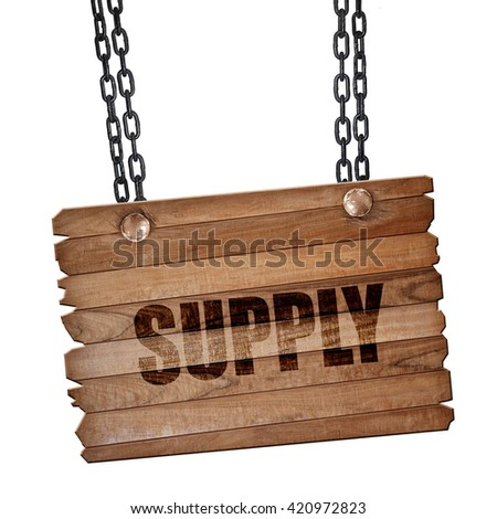 supply, 3D rendering, wooden board on a grunge chain - stock photo