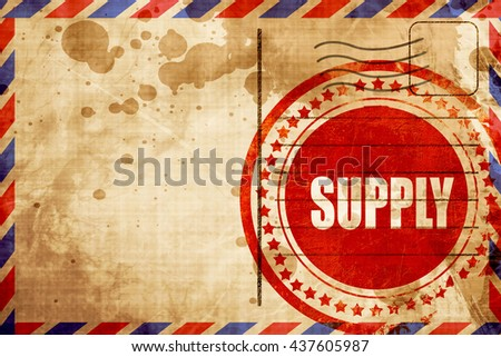 supply, red grunge stamp on an airmail background - stock photo