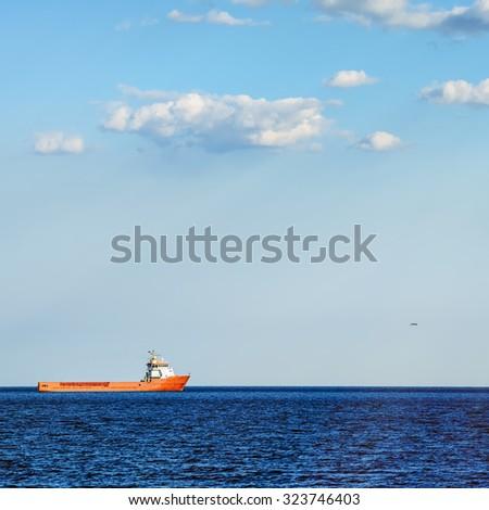 Supply Ship in the Black Sea - stock photo