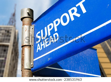 Support Ahead blue road sign - stock photo