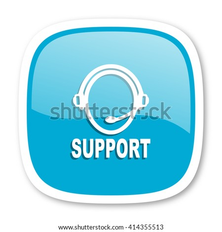 support blue glossy icon - stock photo