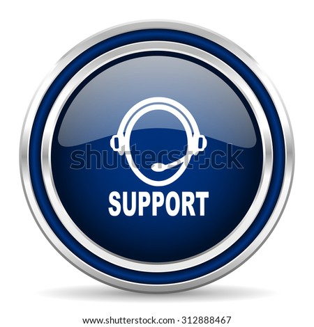 support blue glossy web icon modern computer design with double metallic silver border on white background with shadow for web and mobile app round internet button for business usage  - stock photo