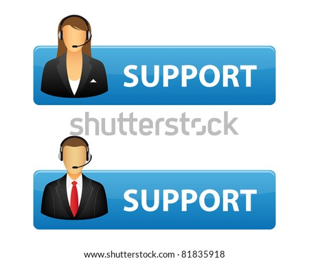 Support buttons. Vector available. - stock photo