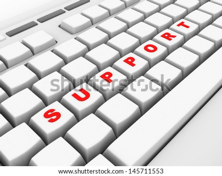 Support Computer Key board  Showing Help And Guidance - stock photo