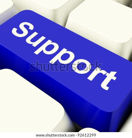 Support Computer Key In Blue Showing Help And Guidance - stock photo