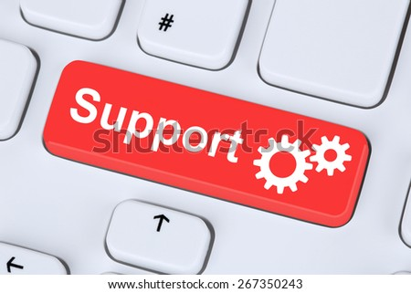 Support customer service assistance help on the internet - stock photo