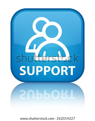 Support (group icon) cyan blue square button - stock photo