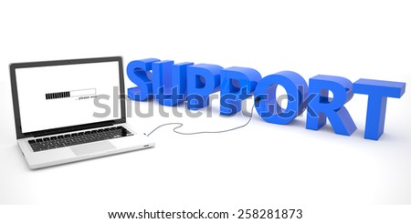 Support - laptop computer connected to a word on white background. 3d render illustration. - stock photo